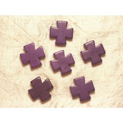 2pc - Perles Turquoise Synthèse - Croix 25mm Violet 4558550028723
