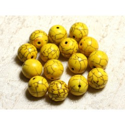 10pc - Perles Turquoise Synthèse Boules 12mm Jaune 4558550028730