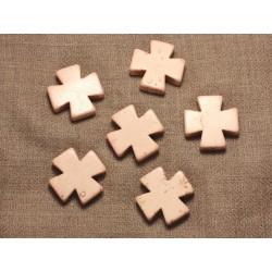 2pc - Perles Turquoise Synthèse - Croix 25mm Blanc Crème 4558550028839