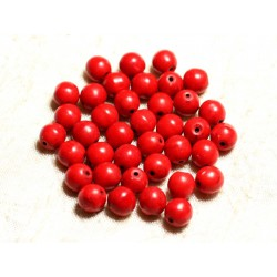 20pc - Perles Turquoise Synthèse Boules 8mm Rouge 4558550028853