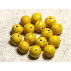 4pc - Perles Turquoise Synthèse Boules 14mm Jaune 4558550028860