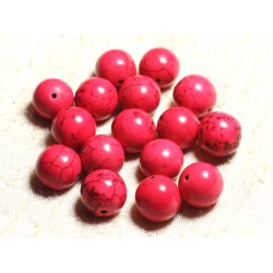 4pc - Perles Turquoise Synthèse Boules 14mm Rose 4558550028877