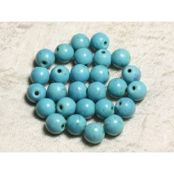 10pc - Perles Turquoise Synthèse Boules 10mm Bleu Turquoise 4558550028907