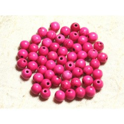 40pc - Perles Turquoise Synthèse Boules 6mm Rose 4558550028938