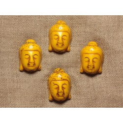 2pc - Perle Bouddha Turquoise Synthèse 29mm Jaune 4558550028969