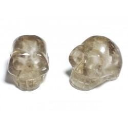 1pc - Perle de Pierre Quartz fumé - Crâne tête de mort 14x10mm Perçage dessus - 4558550029171