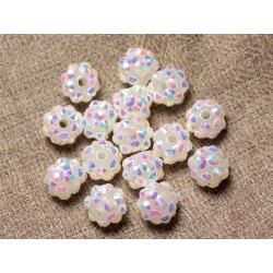 10pc - Perles Shamballas Résine 10x8mm Blanc et Multicolore 4558550029256
