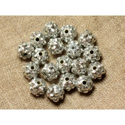 10pc - Perles Shamballas Résine 10x8mm Gris Argenté 4558550029331