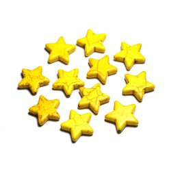 5pc - Perles Turquoise Synthèse Étoiles 20mm Jaune 4558550029379