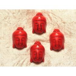 2pc - Perle Bouddha Turquoise Synthèse 29mm Orange 4558550029478