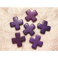 2pc - Perles Turquoise Synthèse Croix 30mm Violet 4558550029485