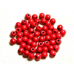 40pc - Perles Turquoise Synthèse Boules 6mm Rouge 4558550029508