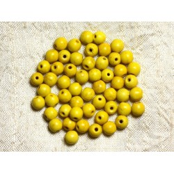 40pc - Perles Turquoise Synthèse Boules 6mm Jaune 4558550029539