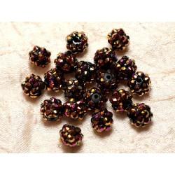 10pc - Perles Shamballas Résine 10x8mm Noir et Bronze et Rose 4558550029553