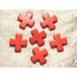 2pc - Perles Turquoise Synthèse Croix 30mm Orange 4558550029638