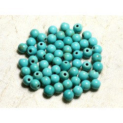 40pc - Perles Turquoise Synthèse Boules 6mm Bleu Turquoise 4558550029669