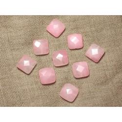 2pc - Perles de Pierre - Jade Carrés Facettés 14mm Rose clair - 4558550029874