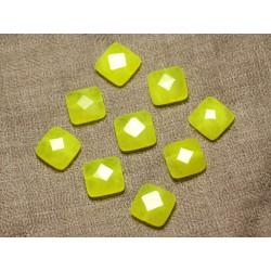2pc - Perles de Pierre - Jade Carrés Facettés 14mm Jaune Fluo - 4558550029881