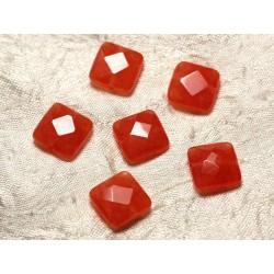 2pc - Perles de Pierre - Jade Carrés Facettés 14mm Orange 4558550029898