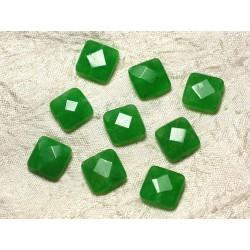 2pc - Perles de Pierre - Jade Carrés Facettés 14mm Vert 4558550029911