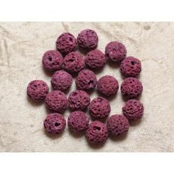 10pc - Perles de Pierre - Lave Boules 10mm Rose 4558550030092