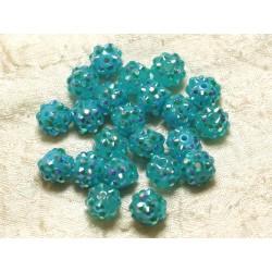 10pc - Perles Shamballas Résine 10x8mm Bleu Turquoise 4558550030108