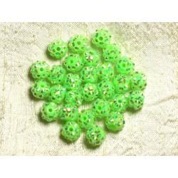 10pc - Perles Shamballas Résine 10x8mm Vert Fluo 4558550009265