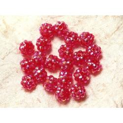 10pc - Perles Résine Shamballas 10x8mm Rose Fuchsia Framboise 4558550030122
