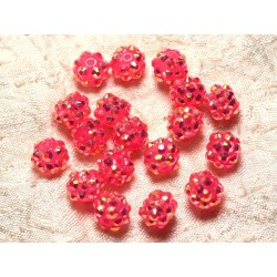 10pc - Perles Shamballas Résine 10x8mm Rose clair 4558550030139