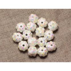 10pc - Perles Résine Shamballas 10x8mm Blanc et Multicolore 4558550030177