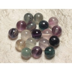 5pc - Perles de Pierre - Fluorite Multicolore Boules 10mm 4558550030399