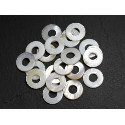 10pc - Composants Cercles Donuts Nacre 15mm 4558550030450