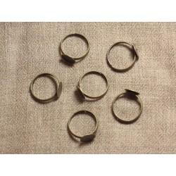 10pc - Bagues Support Métal Bronze Taille Réglable Rond 10mm 4558550030931