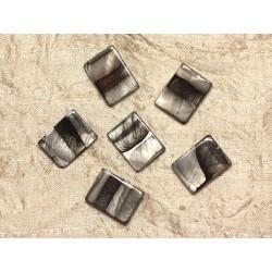 5pc - Perles de Nacre Rectangles 20x15mm Noir et Argenté 4558550031068