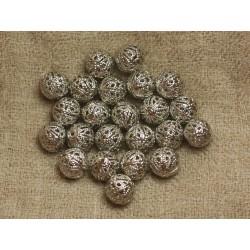 20pc - Perles Métal Argenté Rhodium - Boules Filigranes 10mm 4558550031075