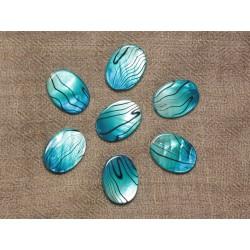5pc - Perles de Nacre Ovales 20x15mm Noir et Turquoise Zébré 4558550031136