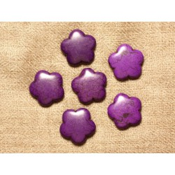 5pc - Perles Turquoise synthèse Fleurs 20mm - Violet 4558550031143