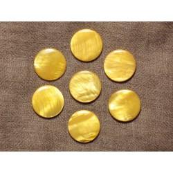 5pc - Perles de Nacre Palets 20mm Jaune 4558550031198