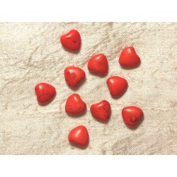 10pc - Perles Turquoise synthèse Coeurs 11mm Orange 4558550031273