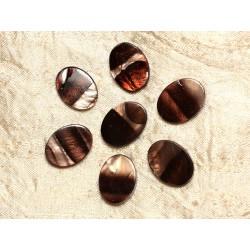 5pc - Perles de Nacre Ovales 20x15mm Marron Zébré 4558550031365