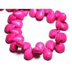 20pc - Perles Turquoise synthèse Gouttes 16mm Rose 4558550031389