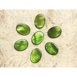 5pc - Perles de Nacre Ovales 20x15mm Vert 4558550031402