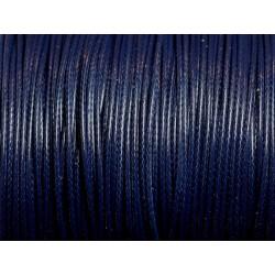 5 Mètres - Cordon de Coton Ciré 1mm Bleu Marine Nuit 4558550031464