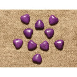 10pc - Perles Turquoise synthèse Coeurs 11mm Violet 4558550031471