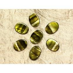 5pc - Perles de Nacre Ovales 20x15mm Vert Zébré 4558550031570
