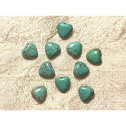 10pc - Perles Turquoise synthèse Coeurs 11mm Bleu turquoise 4558550031594