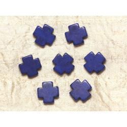 10pc - Perles de Turquoise synthèse Croix 15mm - Bleu Foncé 4558550031716