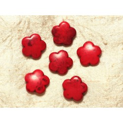 5pc - Perles Turquoise synthèse Fleurs 20mm - Rouge 4558550032065