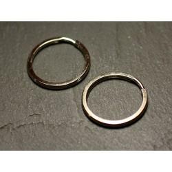 100pc - Anneaux Porte Clefs Métal Argenté Rhodium - Cercle 24mm 4558550032126
