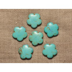 5pc - Perles Turquoise synthèse Fleurs 20mm - Bleu Turquoise 4558550032218